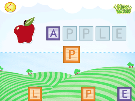 Words and Blocks Spelling game screenshot with letter blocks to spell the word